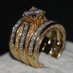 <b>Handmade</b> 3-in-1 Women ring Luxury <b>Jewelry</b> Princess cut 7mm 5A zircon Stone cz 14KT Yellow Gold Filled Wedding Band Rings