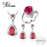 JewelryPalace Genuine 925 Sterling <b>Silver</b> Water Drop Created Ruby Ring Pendant <b>Earrings</b> Anniversary Jewelry Sets For Women Gift