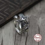 S925 sterling <b>silver</b> men's ring Personalized fashion style Star five-star style popular <b>jewelry</b> Send lover's gift
