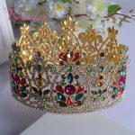 <b>Silver</b> and Gold Elegant Luxurious Bride Crown Headwear Rhinestone Tiaras Hairpin Wedding Hair Accessories Bride <b>Jewelry</b> RE201