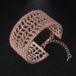Luxury Crystal Fashion Bracelets Hollow geometric opening adjustable bracelet For Women Wedding Dress <b>Accessories</b> Prom <b>Jewelry</b>