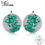 JewelryPalace Trendy Flower 2.47ct Round Created Emerald <b>Earrings</b> For Women Solid 925 Sterling <b>Silver</b> Brand Wedding Fine Jewelry