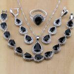 925 Sterling <b>Silver</b> Jewelry Black CZ White Zircon Jewelry Sets For Women Long Earrings/Pendant/Necklace/Rings/<b>Bracelet</b>