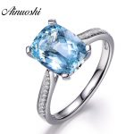 AINUOSHI Pure 925 <b>Sterling</b> <b>Silver</b> Topaz Ring 4 Prong Sparkling Solitaire 5ct Cushion Cut Sky Blue Topaz Ring Engagement <b>Jewelry</b>