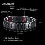 Meaeguet Tow Row 4 Health Elements Energy Bracelet <b>Jewelry</b> For Men Black Stainless Steel Chain Link Magnet Therapy Bracelets