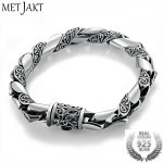 MetJakt Handmade Men's Vintage Thai <b>Silver</b> <b>Bracelet</b> Solid 925 Sterling <b>Silver</b> <b>Bracelet</b> for Male Biker Vintage Jewelry 21cm