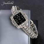 JIASHUNTAI Retro 100% 925 Sterling <b>Silver</b> Watch For Women Round Vintage Thai <b>Silver</b> Watchs Jewelry Gifts