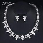 ZAKOL Top Quality Cubic Zircon Flower Shape Earrings <b>Necklace</b> Bridal <b>Jewelry</b> Sets for Women Wedding Dress Bijoux FSSP393