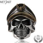 MetJakt Punk Army Cap World War II Skull Officer Ring Solid Real 925 <b>Sterling</b> <b>Silver</b> Ring for Men Vintage Thai <b>Silver</b> <b>Jewelry</b>