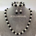 Big 60cm White Potato Round Freshwater Pearl And Black Stone Neckace,Bracelet 21cm Jewelry Set With <b>Earrings</b>.