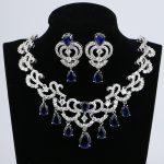 Water Drop Blue Cubic Zirconia White CZ Women Silver Color <b>Jewelry</b> Wedding Earrings Pendant <b>Necklace</b> Sets