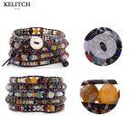 KELITCH <b>Jewelry</b> summer bracelets 8MM Multicolor Beads with Leather Chain 5 Wrap <b>Handmade</b> Bracelet Summer Femme Bijoux Button