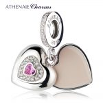 ATHENAIE 925 Sterling <b>Silver</b> Clear CZ Pink Heart Beloved Mother Pendent Drops Charm Beads Fit All European <b>Bracelet</b>