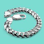 Men's 925 sterling <b>silver</b> <b>bracelet</b> charm <b>Silver</b> jewelry 10mm 20cm chains punk Solid <b>silver</b> <b>bracelet</b> birthday present for friend