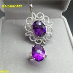KJJEAXCMY boutique jewels 925 pure <b>silver</b> and amethyst pendant necklace <b>earrings</b> with three sets of jewelry and jewelry.