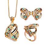 Blucome Dubai Necklace Colar Max Brincos <b>Wedding</b> Rings Joias Chinese Knot Flower French Hooks Earrings Enamel Women <b>Jewelry</b> Sets