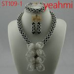 Splendid Nigerian Wedding Coral Statement <b>Jewelry</b> Set <b>Handmade</b> Coral Beaded African Necklace Bracelet Earrings Set ST109-2