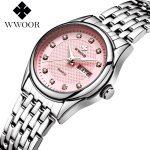 WWOOR Women Watches 30m Waterproof Date Clock Ladies Quartz Watches Sports Women's Wrist Watch <b>Silver</b> <b>Bracelet</b> relogio feminino