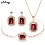 MoBuy Natural Garnet Gemstone 3pcs Jewelry Sets 100% 925 Sterling <b>Silver</b> For Women Wedding/Engagement Fine Jewelry V011EHN