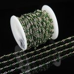3x4mm Wholesale Wire Wrapped Beaded Green Rosary Chains,Natural Glass Crystal Tiny Rondelle Beads <b>Supply</b> <b>Jewelry</b> Making Chain