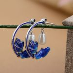 925 Silver Earring Shao Lan S925 Sterling Silver boucle d'oreille Tassel Pearl Flower Drop Earrings for Women <b>Jewelry</b> <b>Making</b>