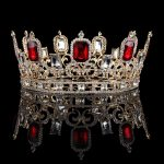 Luxury Full Round Gold Crown Blue White Red Crystal Tiara for Head <b>Jewelry</b> <b>Wedding</b> Accessories Women Diademe Big Bridal Crowns