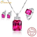 BONLAVIE Wedding Jewelry Sets for Brides Red Ruby <b>Earrings</b>/Necklaces/Rings Jewelry Sets 925 Sterling <b>Silver</b> Bridal Jewelry Set