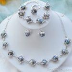 Prett Lovely Women's Wedding Set black baroque freshwater pearl earring bracelet necklace