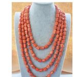 natural 13x15mm massive pink coral NECKLACE for women long chain AAA+ <b>Handmade</b> long chain Silver <b>Jewelry</b>