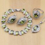 Oval 925 <b>Silver</b> Bridal Jewelry Olive Green Zircon Jewelry Sets For Women Wedding Earrings/Pendant/Necklace/Rings/<b>Bracelet</b>