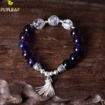 100% 925 Sterling <b>Silver</b> Purple Crystal Tassel Beaded <b>Bracelets</b> For Women Flyleaf Handmade High Quality Fashion Jewelry