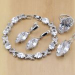 Trendy 925 Sterling <b>Silver</b> Jewelry White CZ Jewelry Sets For Women Wedding Earrings Pendant Necklace Rings <b>Bracelet</b>