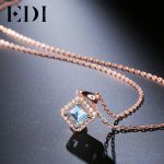 EDI Woman 925 Sterling <b>Silver</b> Pendants Chains <b>Necklaces</b> 5mm Princess Cut Natural Blue Topaz Gemstone <b>Necklace</b> For Women Jewelry
