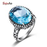 Szjinao Russia Unique <b>Handmade</b> Blue Stone <b>Jewelry</b> Oval 925 Sterling Silver Elegant Aquamarine Women Ring Accessories Bijoux
