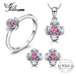JewelryPalace Promise Love Rose In Bloom Round Created Red Ruby Pendant Ring Stud <b>Earrings</b> 925 Sterling <b>Silver</b> Jewelry Sets Gift