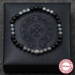 S925 Obsidian sterling <b>silver</b> men's Strand <b>Bracelets</b> personality classic fashion series cross letter modeling beads lover's gift