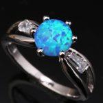 <b>Handmade</b> Blue Fire Opal White Gems Graceful 925 Sterling Silver Stamped Fashion Women's Party <b>Jewelrys</b> Us# Size 6 7 8 9 SF1117