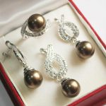 Women's Wedding Hot! nice new silver plated + 12mm brwon shell pearl pendant, earring, , ring set real silver mujer