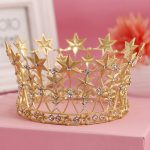 Vintage Baroque Hair <b>Jewelry</b> Wedding Bridal Bridesmaid Star Women Girl Gold Crystal Tiara Crown Headband Bridal Hair Accessories