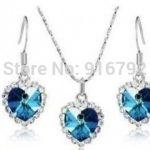 Prett Lovely Women's Wedding Wholesale hot Crystal Ocean heart pendant earring set