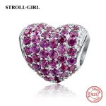 Fit pandora beads for bracelets silver 925 original <b>Antique</b> Love Heart With Pink CZ Charms DIY Beads DIY <b>Jewelry</b> Women Gifts