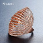 NEWBARK Brand Wide Crystal Rings Gold Color Multi Row Stacked Hollow Trendy <b>Jewelry</b> Female Finger Ring For Banquet <b>Wedding</b>