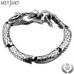 MetJakt Handmade Men's Domineering Dragon <b>Bracelet</b> Solid Vintage 925 Thai <b>Silver</b> Jewelry for Men and Boy Punk Jewelry 21cm