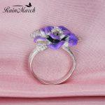 RainMarch Camellia Flower Enamel Silver Ring For Women Authentic 925 Sterling Silver <b>Wedding</b> Ring Handmade Party Enamel <b>Jewelry</b>