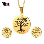 Vnox Tree Of Life Earrings and Necklace <b>Jewelry</b> Sets for Women Gold Color Stainless Steel <b>Jewelry</b> <b>Accessories</b>