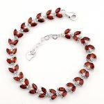 Natural Garnet Bracelet 925 <b>Sterling</b> <b>silver</b> Woman Fine Elegant Red Gem <b>Jewelry</b> Girl Birthstone Valentine Gift sb0052g