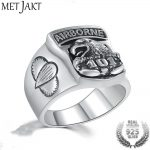 MetJakt US Army 101 Eagle Airborne Division Pattern Solid 925 <b>Sterling</b> <b>Silver</b> Ring for Cool Men Anniversary Punk Rock <b>Jewelry</b>