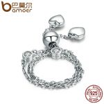 BAMOER New Arrival Real 925 Sterling Silver Glittering Pave Heart CZ Bracelet Adjustable Link Chain Bracelets <b>Jewelry</b> SCB032