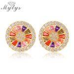 Mytys Round Stud Earring Crystal Women Ear Stud Earrings Fashion <b>Jewelry</b> <b>Accessories</b> CE168 CE169