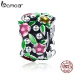BAMOER Summer Collection Genuine 925 Sterling Silver Flower Wall Spacer Beads fit Charm Bracelet Necklaces <b>Jewelry</b> Gift SCC648